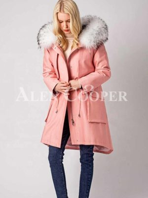 Women Warm winter windproof fashionable parka with fur hood