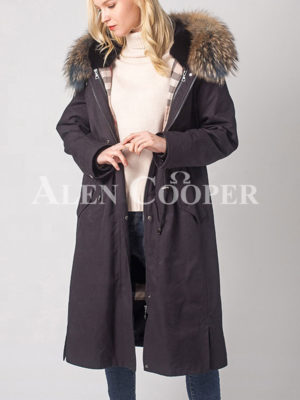 Women breathable and comfortable real fur hooded winter parka light navy