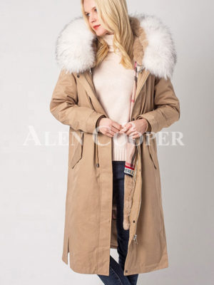Women breathable and comfortable real fur hooded winter parka light pink