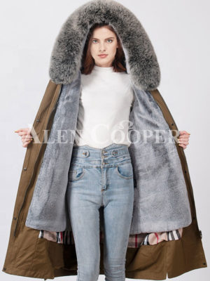 Women exciting luxury long warm winter parka with fur hood support