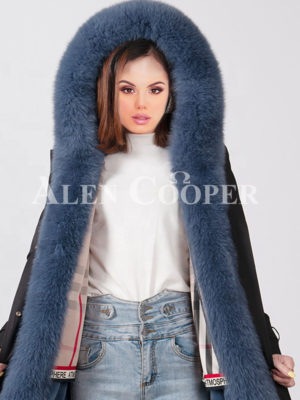 Women fluffy real fur collar-hood warm winter parka