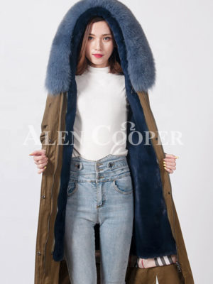 Women fur lined fur hooded real warm long winter parka