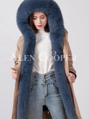 Women thick and windproof real warm winter parka with fur hood and collar