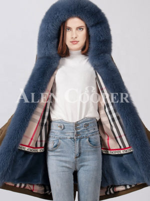 Women trendy casual and long warm winter parka with fur hood-collar