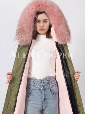 Womens long and luxury real fur hooded unique winter parka