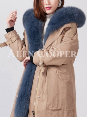 Womens thick and windproof real warm winter parka with fur hood and collar