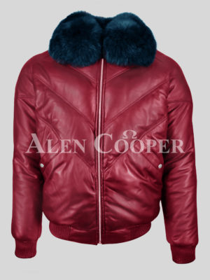 MEN'S WINE COLOR REAL LEATHER V BOMBER JACKET WITH NAVY BLUE COLLAR