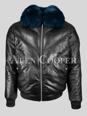 v bomber leather jacket with navy fur collar for men New