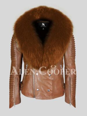 100% real sheepskin tan winter biker jacket with wide tan fox fur collar for men