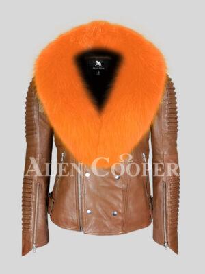 100% real sheepskin winter jacket with bright orange fox fur collar for men