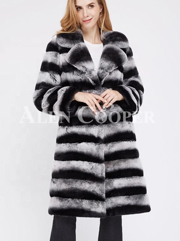 Bi-color long real fur warm winter coat