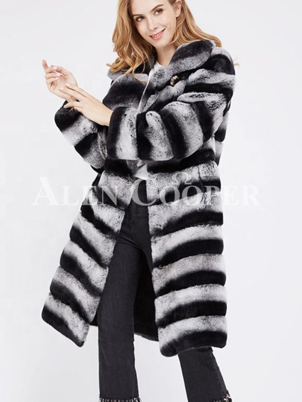 Bi-color long real fur warm winter coat for women