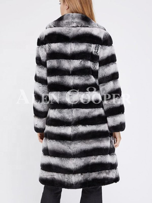 Bi-color long real fur warm winter coat for women back side view