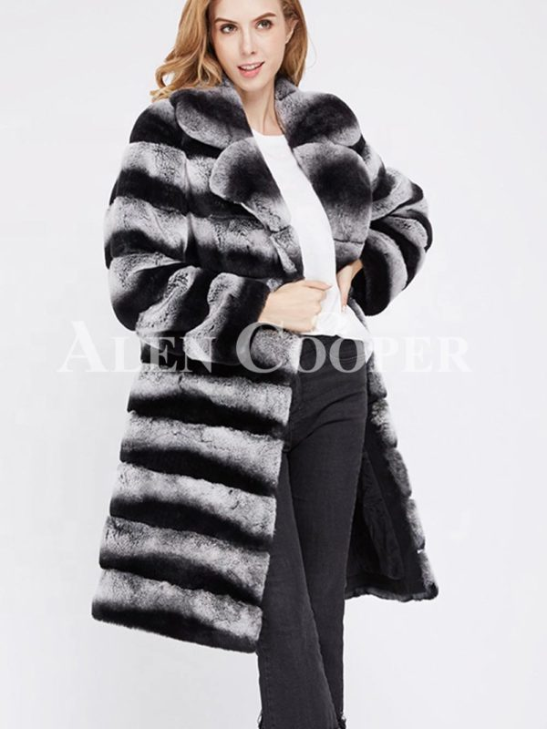Bi-color long real fur warm winter coat for women side view
