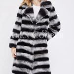 Bi-color long real fur warm winter coat for women's
