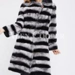 Bi-color long real fur warm winter coat for womens