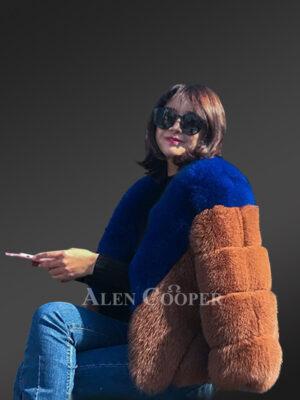 Bi-color real fox fur paragraph winter coat for women new