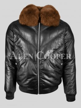 Black real leather quality v-bomber for men with brown detachable fur collar