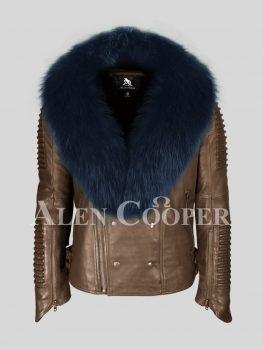 Coffee pure lamb skin winter biker jacket with navy fox fur collar for men