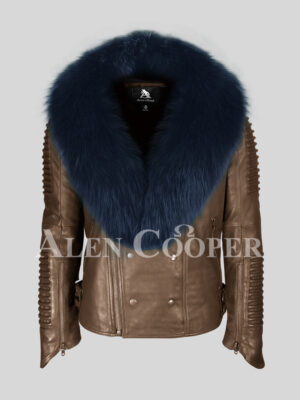 Coffee pure lamb skin winter biker jacket with navy fox fur collar for men