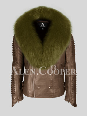 Coffee real leather warm winter biker jacket with olive fox fur collar