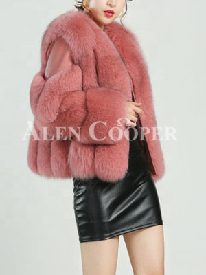 Factory wholesale high quality winter women pink real red fur coat for ladies side view