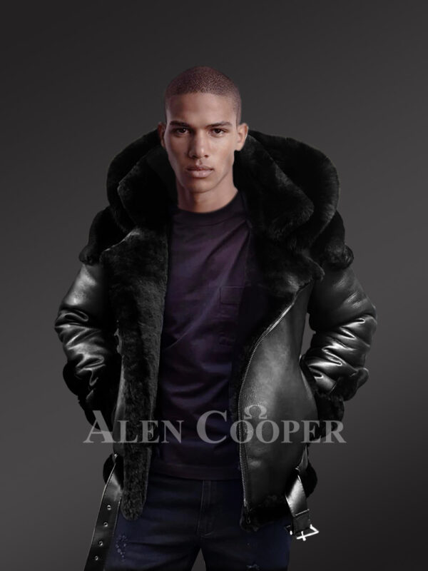 Heavy duty super warm and comfortable double face sheepskin Biker jacket with real fur trim hood in black new