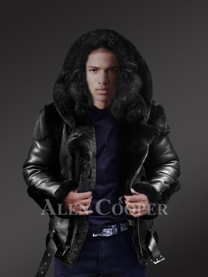 Heavy duty super warm and comfortable double face sheepskin Biker jacket with real fur trim hood in black new view