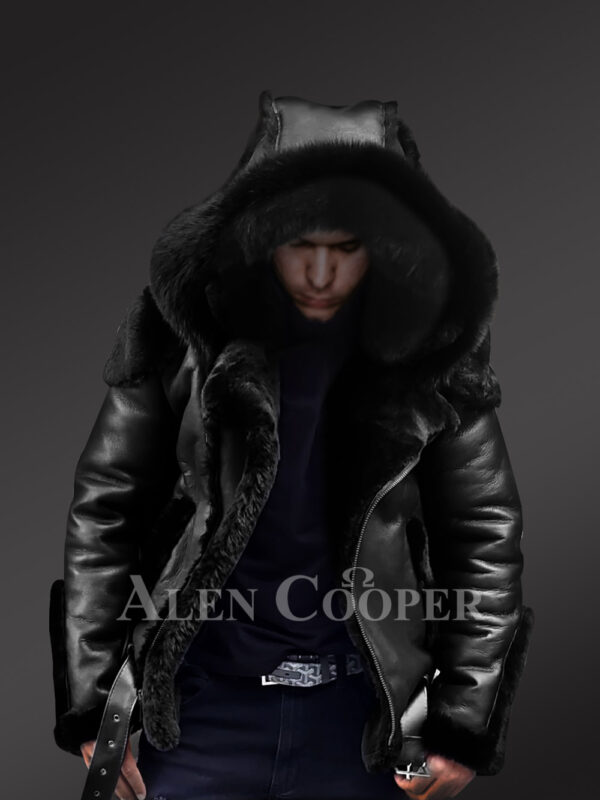 Heavy duty super warm and comfortable double face sheepskin Biker jacket with real fur trim hood in black new views
