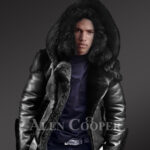 Heavy duty super warm & comfortable double face sheepskin Biker jacket with real fur trim hood in black new