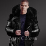 Heavy duty super warm n comfortable double face sheepskin Biker jacket with real fur trim hood in black new views