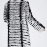 Highly fashionable and luxury long warm winter real fur coat for women back side view