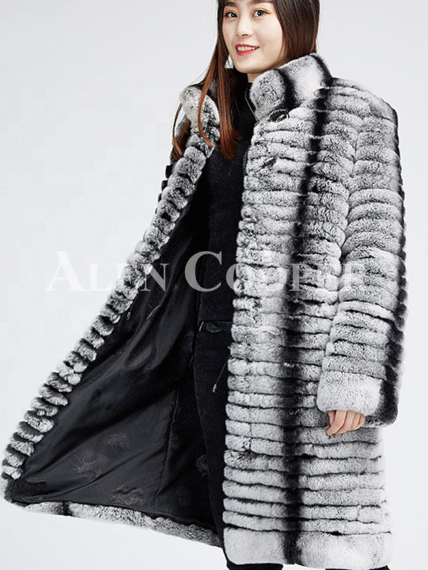 Highly fashionable and luxury long warm winter real fur coat for women side view
