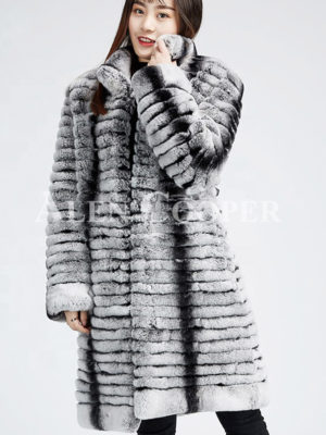 Highly fashionable and luxury long warm winter real fur coat for women's