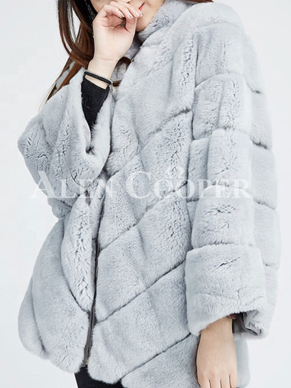 Hooded stylish and luxury real fur winter coat for women close view