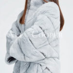 Hooded stylish and luxury real fur winter coat for women side view