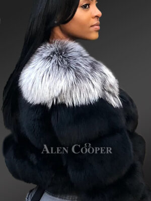 Iconic real fox fur bi-color warm winter outerwear for women new side view