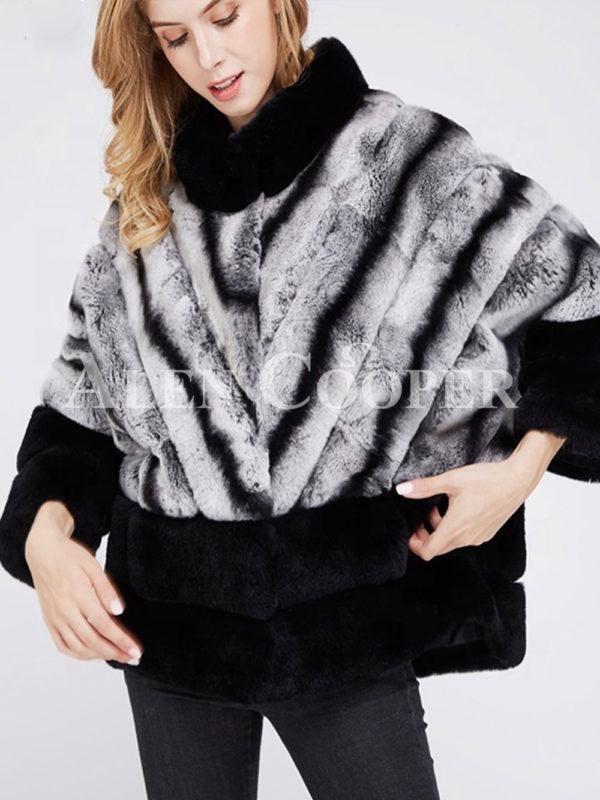Korean styled bi-color real fur winter vest for women