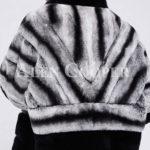 Korean styled bi-color real fur winter vest for women back side view
