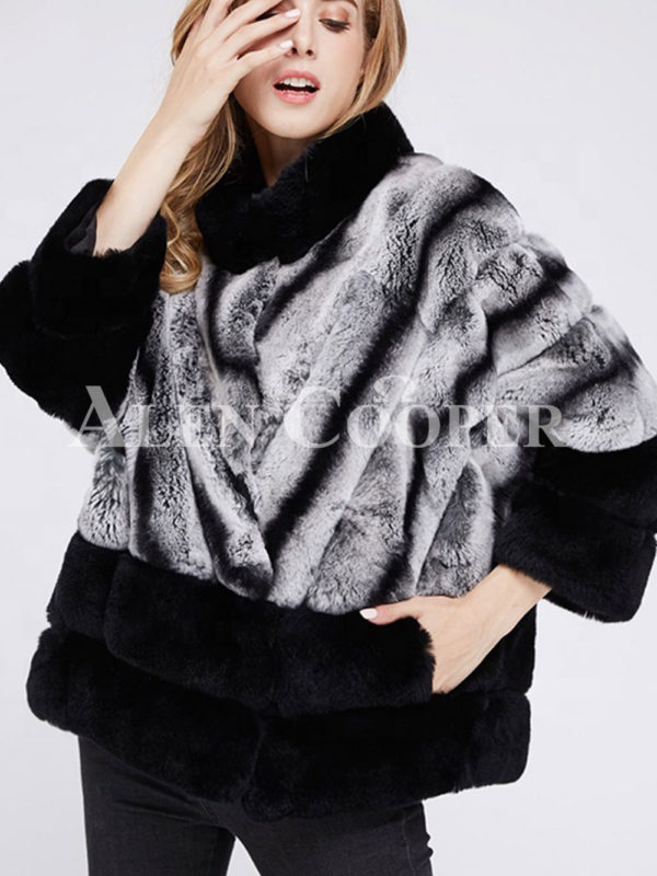 Korean styled bi-color real fur winter vest for women's