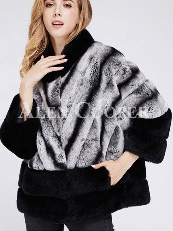 Korean styled bi-color real fur winter vest women