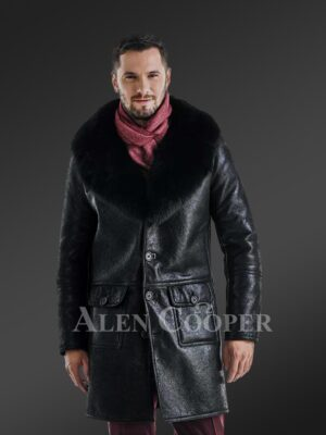 Long and stylish classic cut merino lamb fur lined leather coat for men New