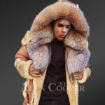 Men's New super stylish double face real fur hooded winter coat side view