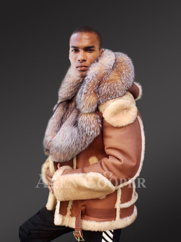 Men's New super stylish double face real fur hooded winter coat sideviews