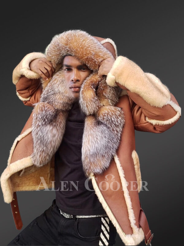 Men's New super stylish double face real fur hooded winter coat views