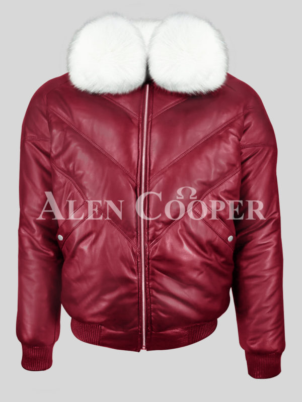 Men's attractive vintage wine v bomber jacket with snow white crystal fur collar