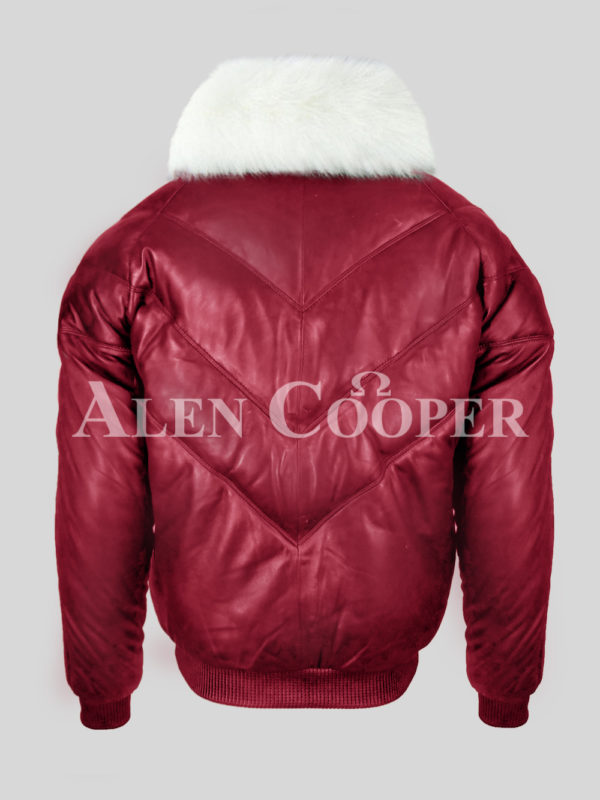 Men's attractive vintage wine v bomber jacket with snow white crystal fur collar back side view