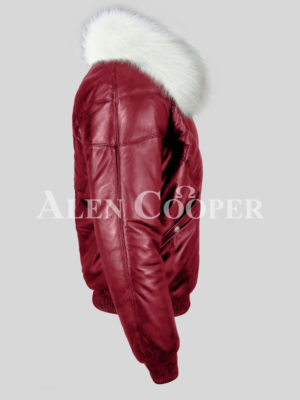 Men's attractive vintage wine v bomber jacket with snow white crystal fur collar side view