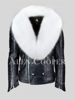 Men's coal black real leather winter biker jacket with snow white fox fur collar