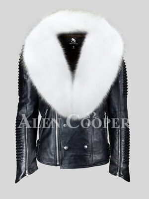 Men's coal black real leather winter biker jacket with snow white fox fur collar